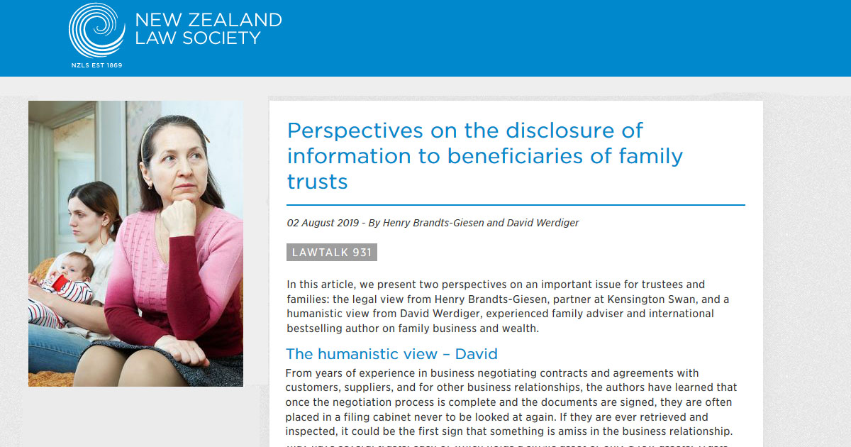 Perspectives on the disclosure of information to beneficiaries of family trusts